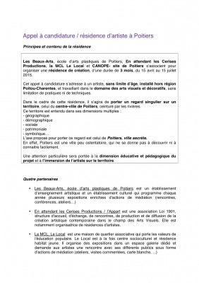 Appel a candidature residence artistique Poitiers